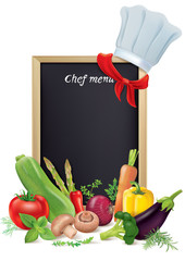 Chef menu board and vegetables