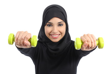 Arab woman doing weights fitness concept