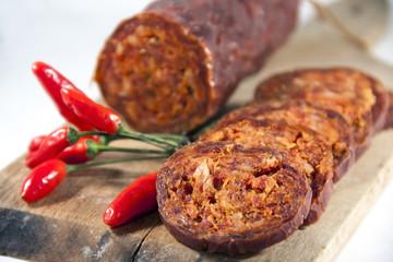 Hungarian homemade paprika salami