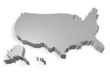 Rhode Island e cartina degli Stati Uniti in 3d