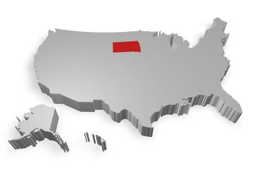 South Dakota e cartina degli Stati Uniti in 3d