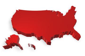 Stati Uniti cartina in 3d rossa