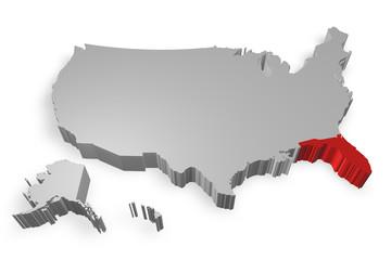 Florida e cartina degli Stati Uniti in 3d