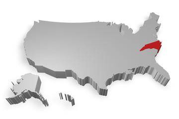 North Carolina e cartina degli Stati Uniti in 3d