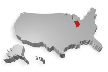 Indiana e cartina degli Stati Uniti in 3d