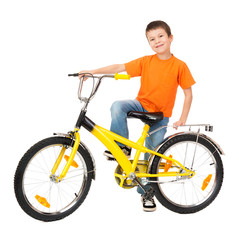 boy on bicycle isolated