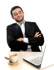 Relaxed Businessman working with computer