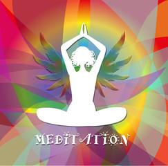 silhouette in posizione yoga