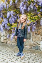 Spring portrait of a cute little girl