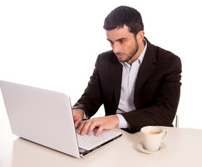 business man concentrating on a laptop