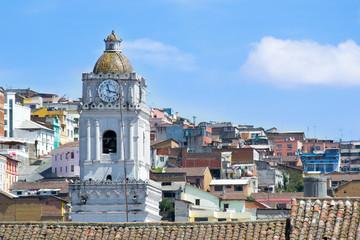 Quito old town historic center view, Ecuador.