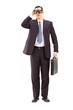 Full length portrait of male businessman watching through binocu