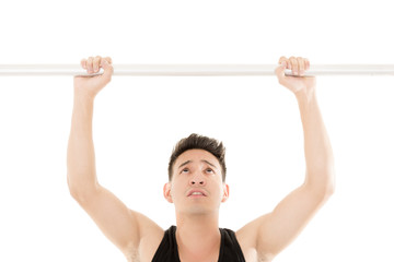 Man doing chin-ups