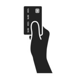 hand holding credit card icon. vector illustration