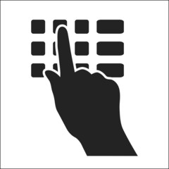 hand pushing button of bank machine keyboard web icon