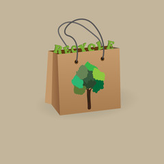 paper bag with a text and a picture of a tree