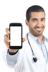 Arab doctor man showing a smart phone display application