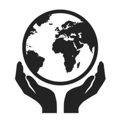 hands holding globe earth vector icon. save earth concept