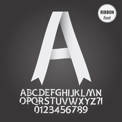 White Ribbon Alphabet and Digit Vector