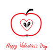 Red apple with heart shape. Happy Valentines Day card.