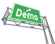 Demo Word Green Freeway Sign Product Demonstration Free Trial