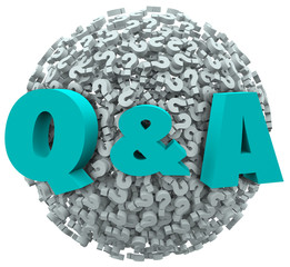 Q and A Question Mark Sphere Ask for Answers Support Help