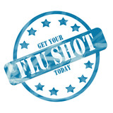 Blue Weathered Flu Shot Stamp Circle and Stars