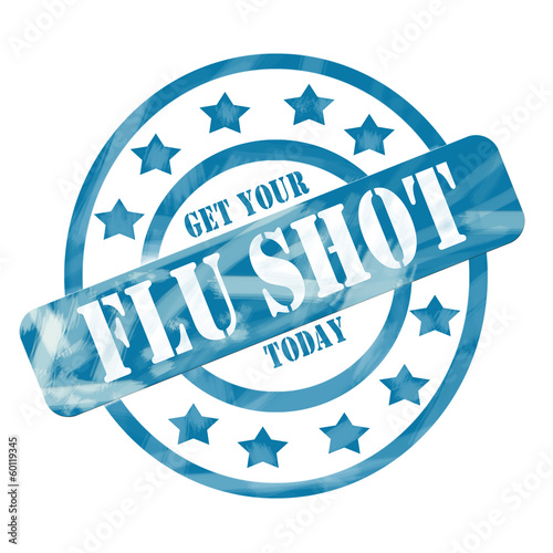 Blue Weathered Flu Shot Stamp Circles and Stars