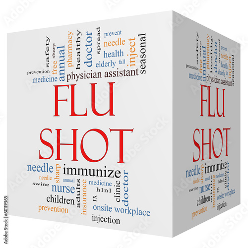 Flu Shot 3D Cube Word Cloud Concept