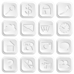 Infographics Paper Cutout Web Icons EPS10