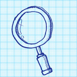drawing of magnifying glass on graph paper vector