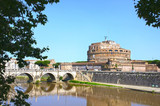 Saint Angel Castle and bridge over the Tiber river in Rome, Ital