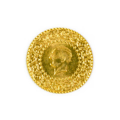 Turkish Gold Coin. Isolated on white background