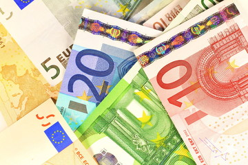 Macro details of Euro notes laid out