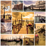 Collage Venice lagoon and canals with gondolas at night. Venice,