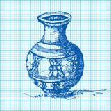 drawing of jar on graph paper vector