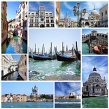 Collage of landmarks of Venice, Italy