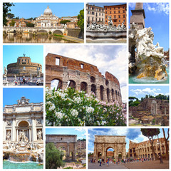 Collage of landmarks of Rome, Italy