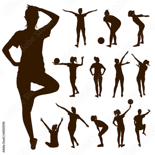 Silhouette people exercise design background, vector