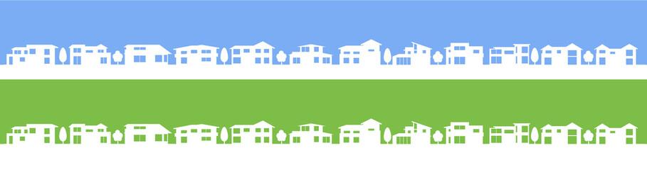 町並みシルエット反転青緑
