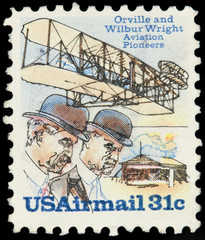 United Stated Of America. Airmail stamp depicting Orville and W