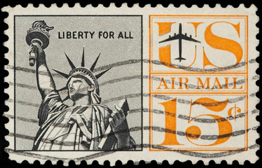 United Stated Of America. Airmail stamp depicting Liberty Enlig