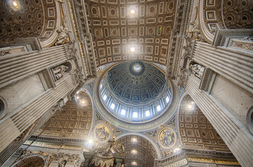 Rome, Interior of Saint Peter Basilica. HDR image.