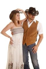 Cowboy couple both hats