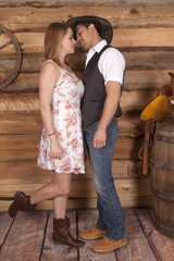 Cowboy ready to kiss woman