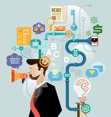 Businessman create ideas concept vector