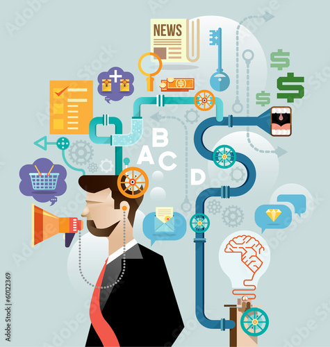 Businessman create ideas concept vector