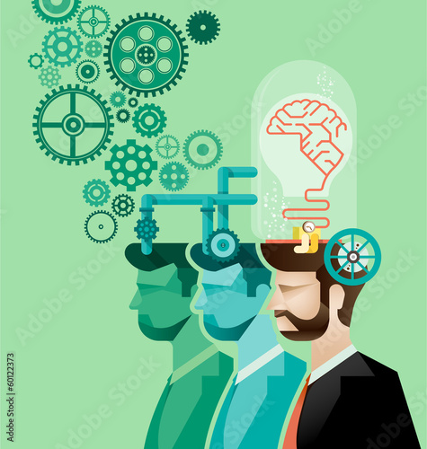 business man and brain gears in progress vector