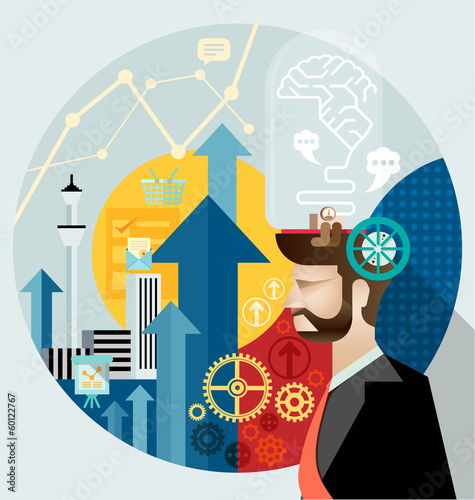 Businessman create ideas vector