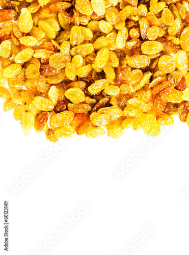 Heap of raisin isolated on white background, studio macro with c